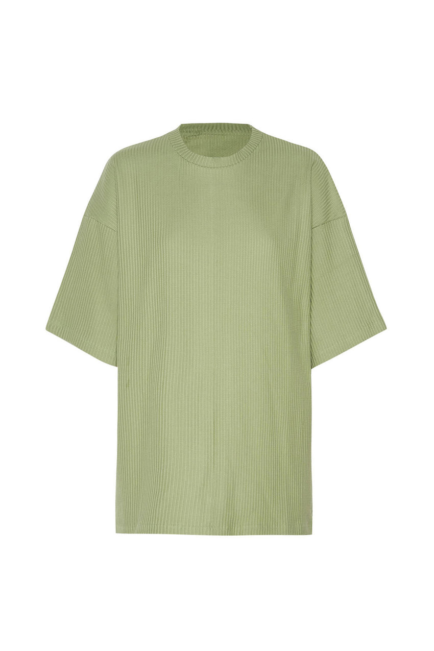 Classic Ribbed Tee - Tallow Green