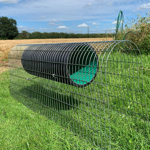 High Mesh Tunnel with Den Suspension, suitable for outdoor rabbits, Guinea Pigs or other small furries. Easy to connect to other cages or enclosures.