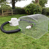 Hay Hutch Circuit rabbit run. Uses a 4ft square run and 2 connection kits to link to a hay hutch with canvas jacket