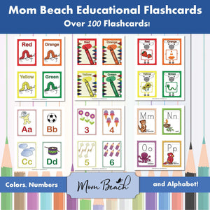 Mom Beach Educational Flashcards (108 Cards)
