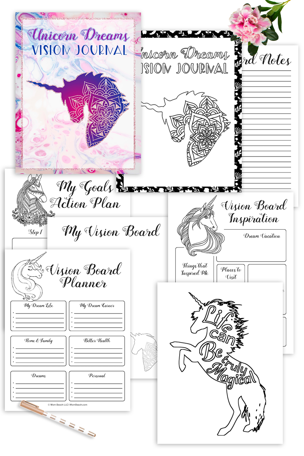 Unicorn Dreams Vision Journal (15 Pages)