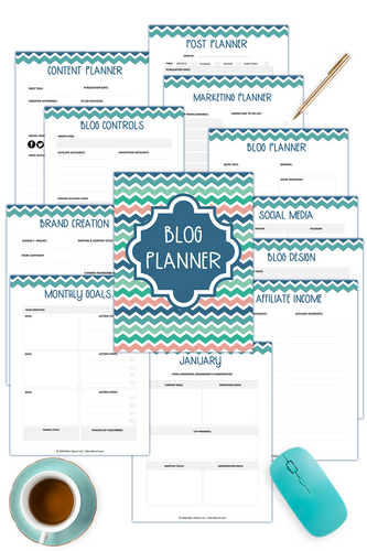 Blog Planner - Color and Black and White ( 118 Pages )
