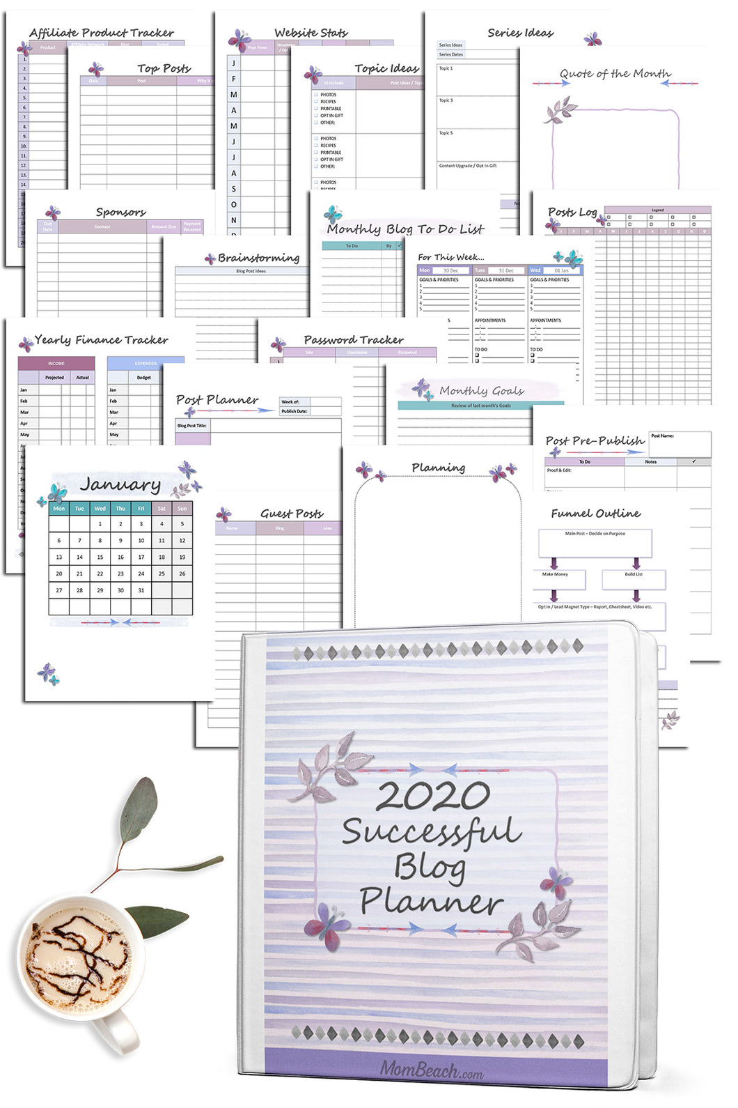 2020 Successful Blog Planner - Color & BW (278 Pages)