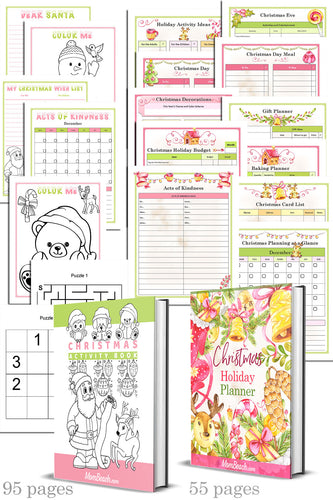 Christmas Planner and Kid's Activity Journal Bundle (150 pages in all)