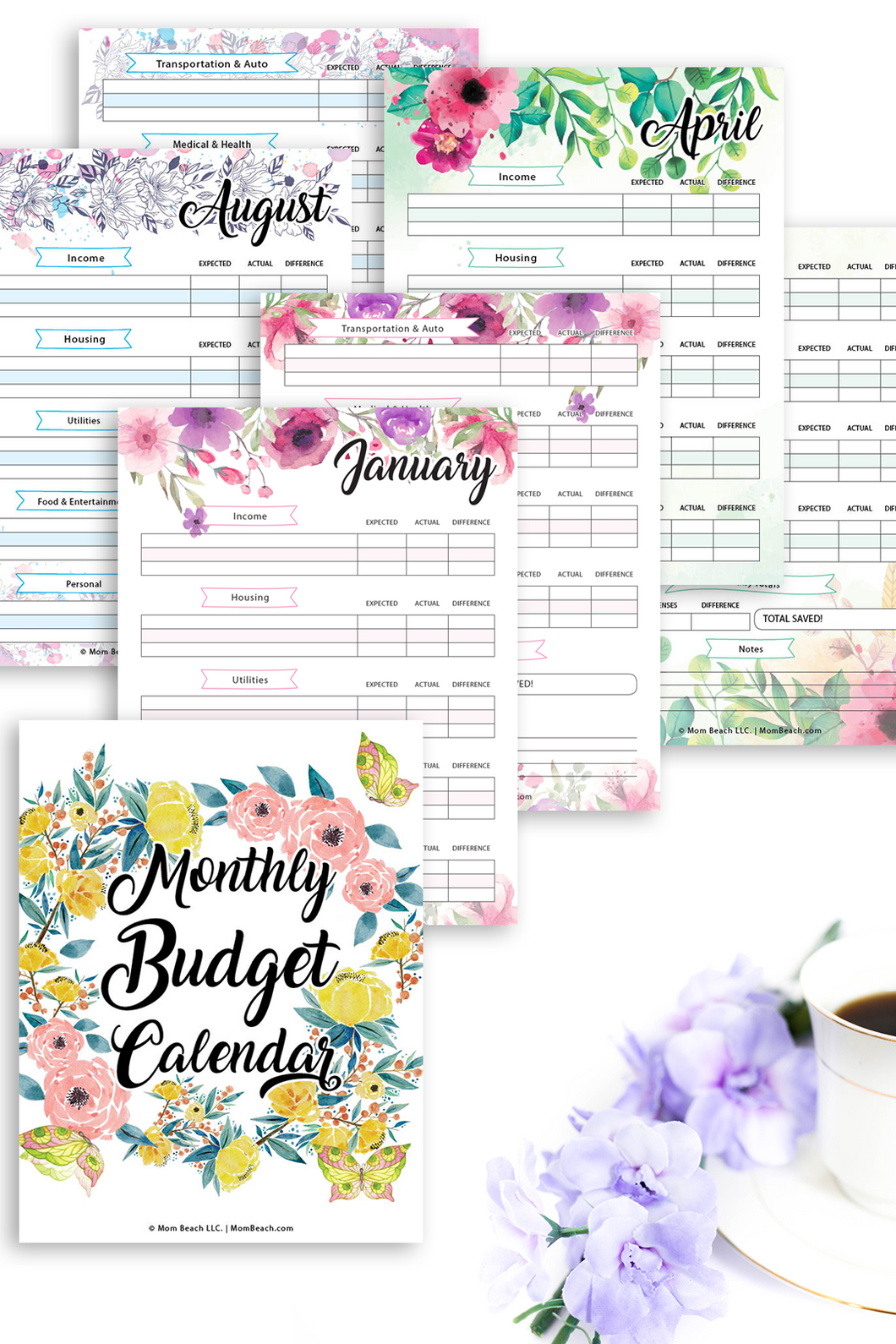 Watercolor Floral Monthly Budget Calendar