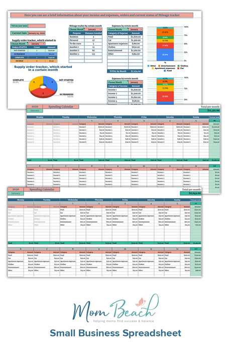 Mom Beach Small Business Spreadsheet