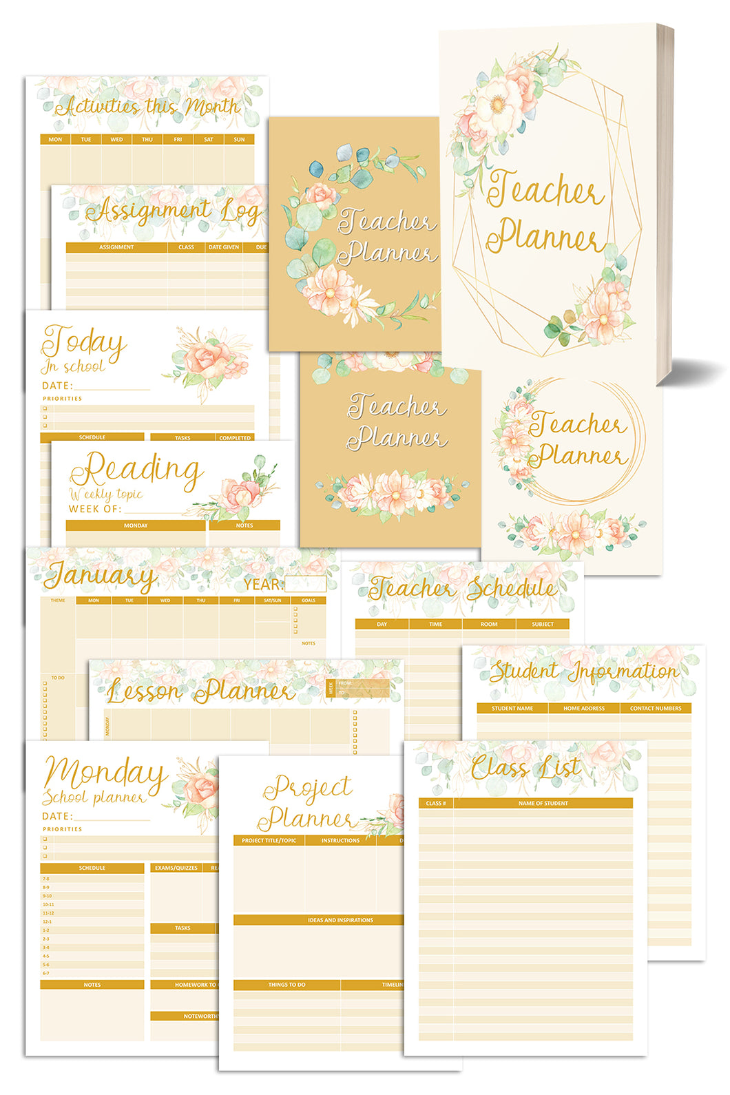 Vanilla Blooms Teacher Planner