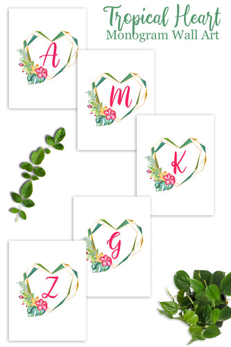 Tropical Heart Monogram Set (26 Pages)