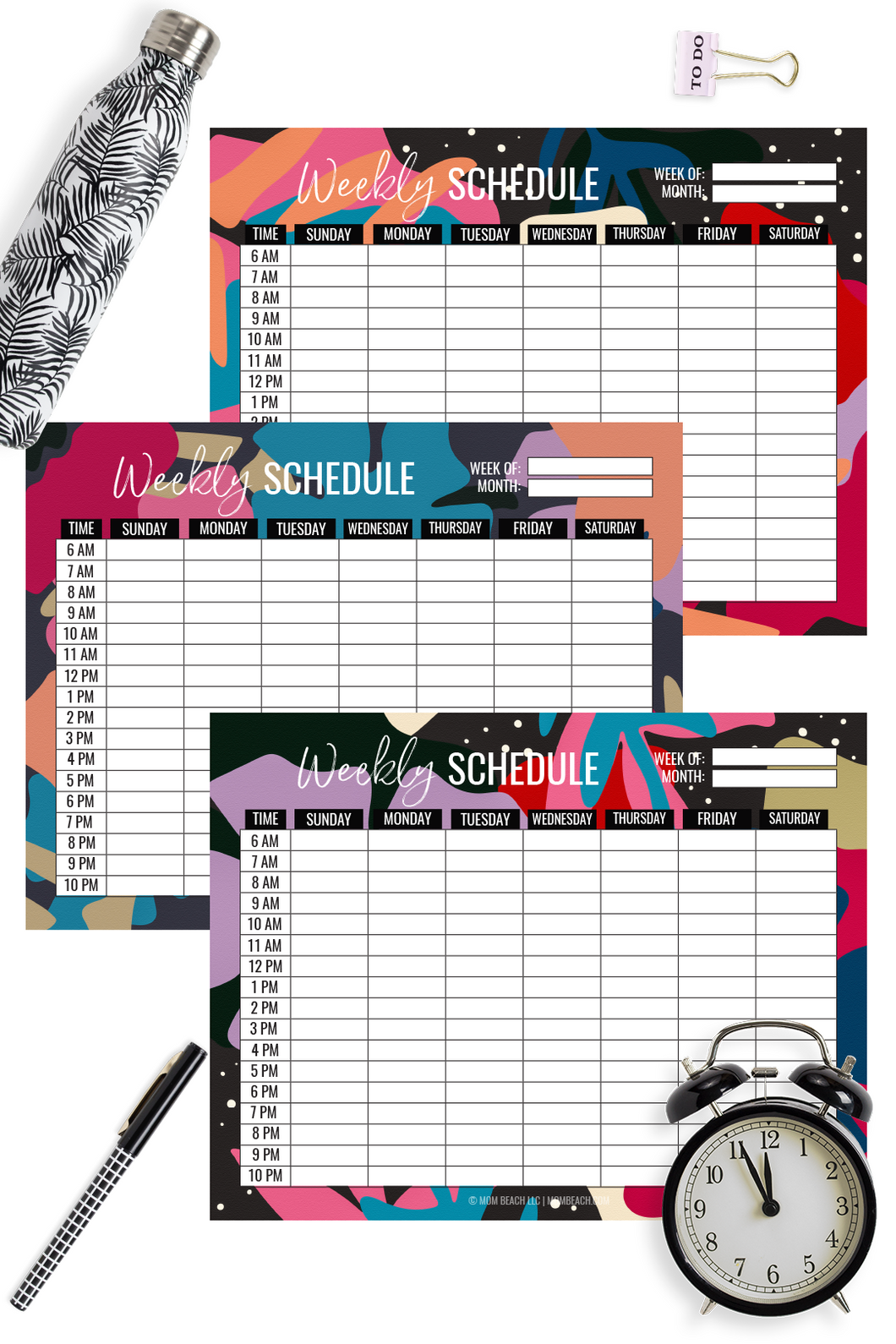 Abstract Floral Weekly Schedule Fillable Bundle ( 3 Pages )