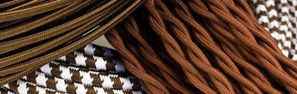 brown cloth-covered wire