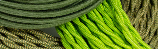 green cloth-covered wire