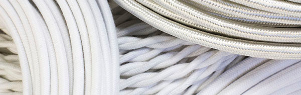 white cloth-covered wire