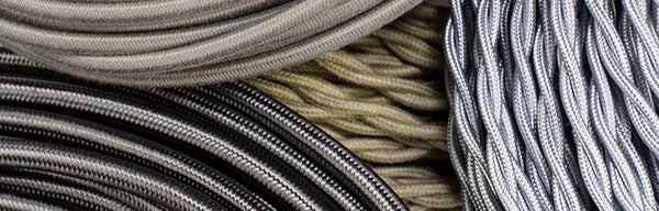 gray, silver, putty, pewter cloth-covered wires