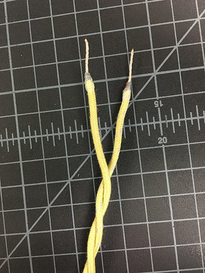 twisted pair with stripped ends