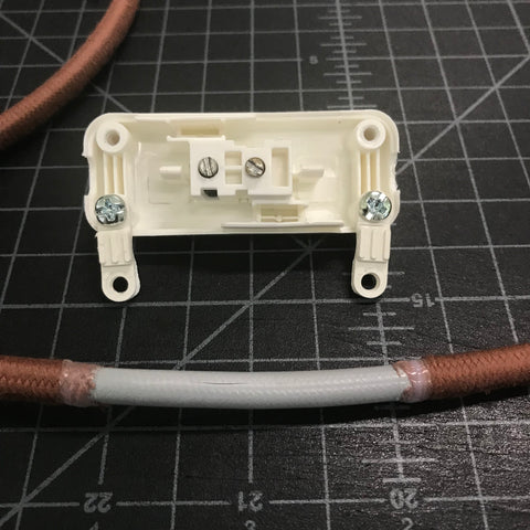 open vintage slim switch and pulley cord with fabric removed and ends taped