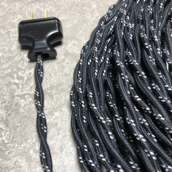 2-CONDUCTOR 18-GAUGE BLACK COTTON TWISTED WIRE WITH DOUBLE WHITE TRACER