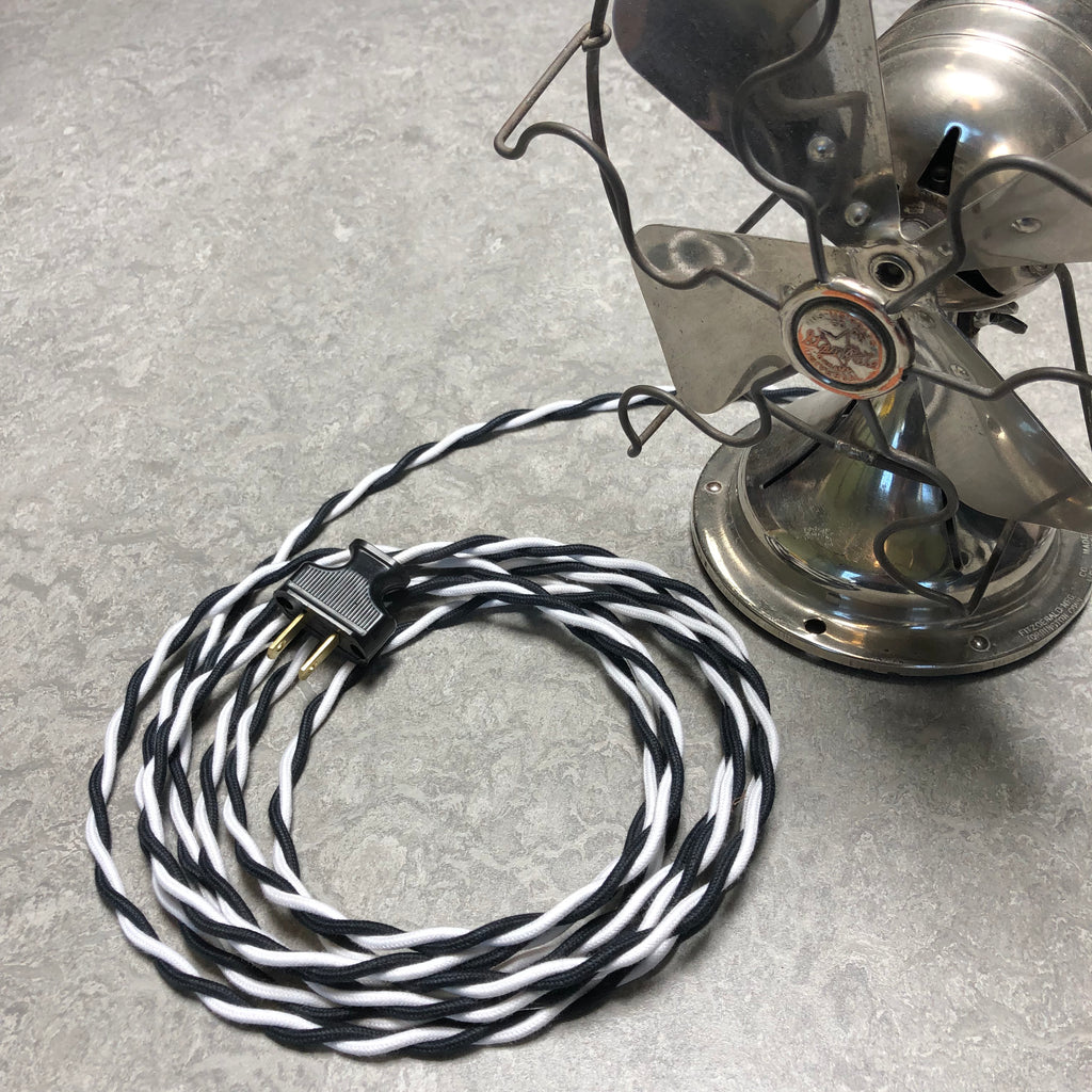 2-CONDUCTOR 18-GAUGE BLACK & WHITE COTTON TWISTED WIRE