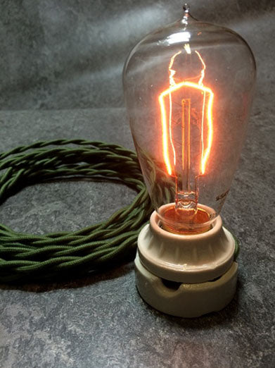 BULB: EDISON TEARDROP STYLE WITH HAIRPIN FILAMENT, 40W, lit