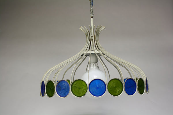 Vintage White Mid-Century Chandelier with Green & Turquoise Medallions