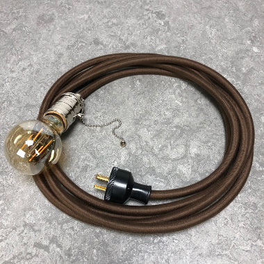 3-CONDUCTOR 14-GAUGE DARK BROWN COTTON PULLEY CORD