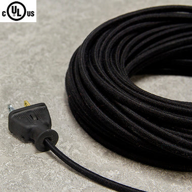 2-CONDUCTOR 18-GAUGE BLACK COTTON PARALLEL CORD - UL-Listed
