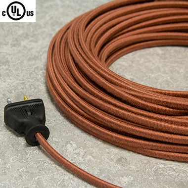 2-CONDUCTOR 18-GAUGE LIGHT BROWN COTTON PARALLEL CORD - UL-Listed