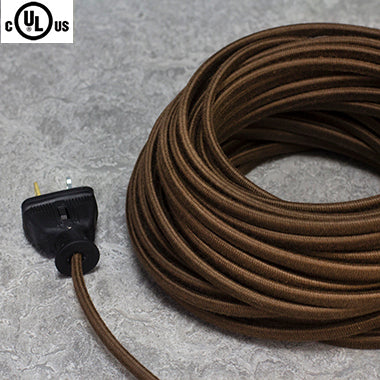 2-CONDUCTOR 18-GAUGE DARK BROWN COTTON PARALLEL CORD - UL-Listed