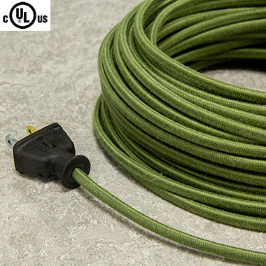 2-CONDUCTOR 18-GAUGE GREEN COTTON PARALLEL CORD - UL-Listed