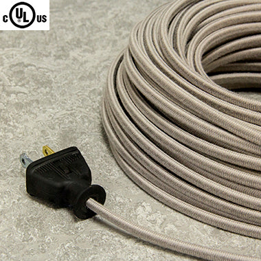 2-CONDUCTOR 18-GAUGE GRAY COTTON PARALLEL CORD - UL-Listed