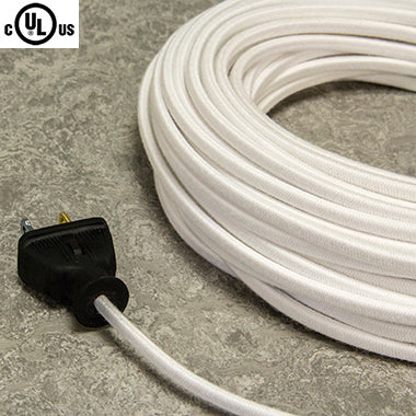 2-CONDUCTOR 18-GAUGE WHITE COTTON PARALLEL CORD - UL-Listed