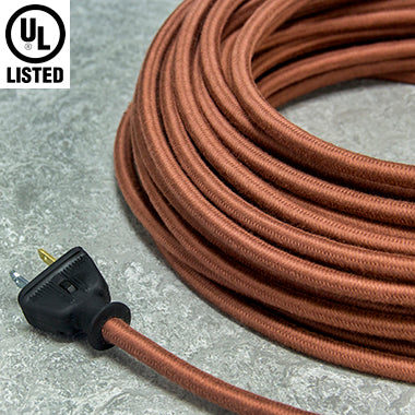 2-CONDUCTOR 18-GAUGE LIGHT BROWN COTTON PULLEY CORD - UL-Listed