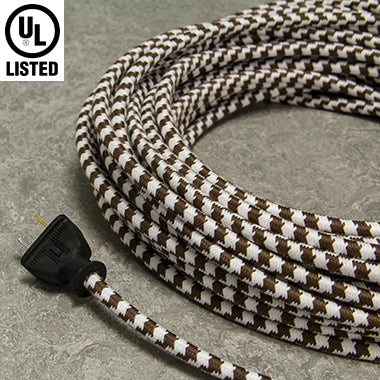 2-CONDUCTOR 18-GAUGE DARK BROWN & WHITE LARGE HOUND'S-TOOTH  COTTON PULLEY CORD - UL-Listed