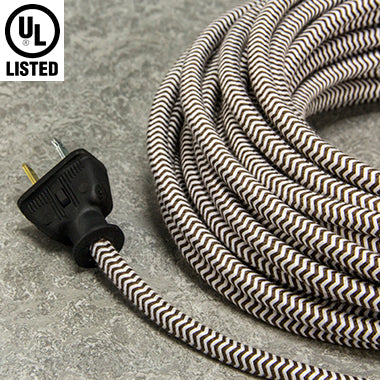 2-CONDUCTOR 18-GAUGE DARK BROWN & WHITE ZIG-ZAG COTTON PULLEY CORD - UL-Listed