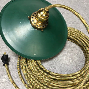 2-CONDUCTOR 18-GAUGE GOLD & GREEN ZIG-ZAG COTTON PULLEY CORD - UL-Listed