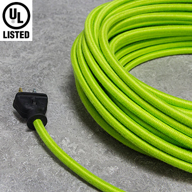 2-CONDUCTOR 18-GAUGE LIME GREEN COTTON PULLEY CORD - UL-Listed