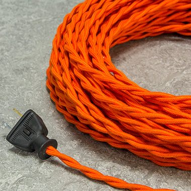 2-CONDUCTOR 18-GAUGE BURNT ORANGE COTTON TWISTED WIRE