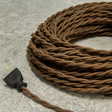 2-CONDUCTOR 18-GAUGE DARK BROWN COTTON TWISTED WIRE