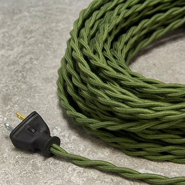 2-CONDUCTOR 18-GAUGE GREEN COTTON TWISTED WIRE