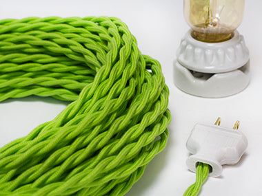 2-CONDUCTOR 18-GAUGE LIME GREEN COTTON TWISTED WIRE