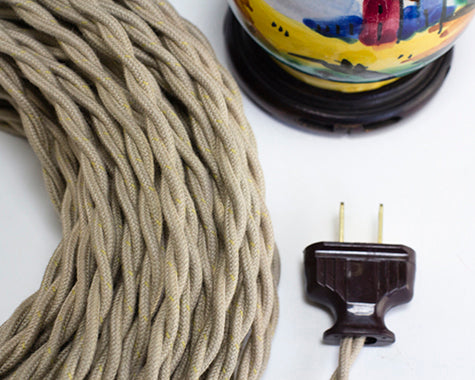 2-CONDUCTOR 18-GAUGE PUTTY COTTON TWISTED WIRE WITH GOLD TRACER