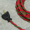 2-CONDUCTOR 18-GAUGE RED & GREEN COTTON TWISTED WIRE