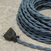 2-CONDUCTOR 18-GAUGE SLATE BLUE COTTON TWISTED WIRE