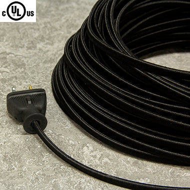 2-CONDUCTOR 18-GAUGE BLACK RAYON PARALLEL CORD - UL-Listed