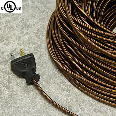 2-CONDUCTOR 18-GAUGE BROWN RAYON PARALLEL CORD - UL-Listed