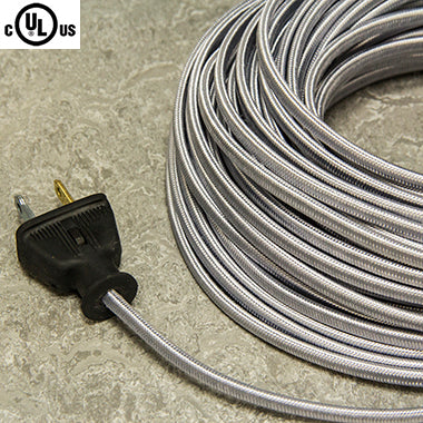 2-CONDUCTOR 18-GAUGE SILVER RAYON PARALLEL CORD - UL-Listed