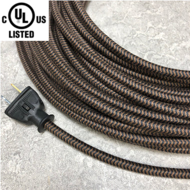 3-CONDUCTOR 18-GAUGE BLACK & DARK BROWN ZIG-ZAG COTTON PULLEY CORD - UL-Listed