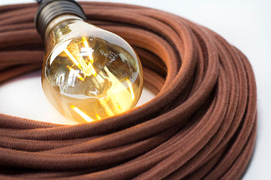 3-CONDUCTOR 18-GAUGE LIGHT BROWN COTTON PULLEY CORD - UL-Listed