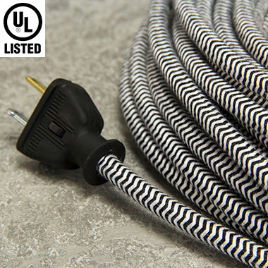 3-CONDUCTOR 18-GAUGE BLACK & WHITE ZIG-ZAG COTTON PULLEY CORD - UL-Listed