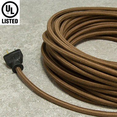 3-CONDUCTOR 18-GAUGE DARK BROWN COTTON PULLEY CORD - UL-Listed