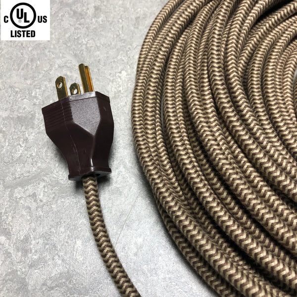 3-CONDUCTOR 18-GAUGE DARK BROWN & PUTTY ZIG-ZAG COTTON PULLEY CORD - UL-Listed